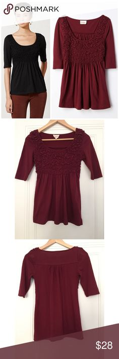 """Anthropologie Deletta Darby Peplum Top Size XS. Color: Wine. When it comes to basics, we can't get enough of easy, thoughtful pieces that go beyond the call of casual duty. As effortless as a tee, Deletta's smocked peplum top is the perfect way to upgrade your skinnies.  By Deletta Pullover styling Cotton, polyester Hand wash Regular: 25.25""""L Petite: 23.5""""L Imported Style No. 29340403. In excellent condition; no flaws. Anthropologie Tops Tees - Long Sleeve"""