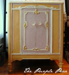 This cabinet went from quite boring to quite eye-catching with some carefully selected paint and careful aging. One of my challenges was getting the colors balanced. This French-inspired cabinet sold recently to a customer at The Purple Pear design shop in Portland.