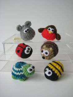 Teeny animal knitting patterns - six quick to knit mini toys or rings with instant pattern download by fluffandfuzz on Etsy