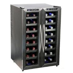 Whynter WC-321DD 32 Bottle Dual Temperature Zone Wine Cooler, Stainless Steel Trimmed Glass Door with Black Cabinet (Kitchen)