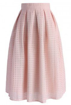 Grids and Pleats Midi Skirt in Pink - Retro, Indie and Unique Fashion