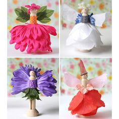 Clothespin Flower Fairies - You will love creating these cute little fairy dolls out of silk flowers and wooden clothespins. This is the cutest spring craft idea! Cute Crafts, Creative Crafts, Kids Crafts, Diy And Crafts, Kids Garden Crafts, Flower Crafts Kids, Camping Crafts For Kids, Doll Crafts, Kids Fairy Garden