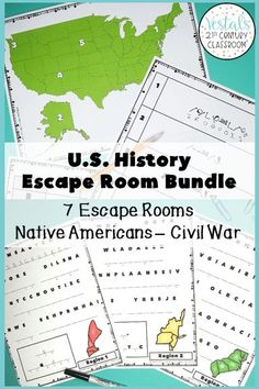 Looking for a review activity to get your students excited about U.S. History? This U.S. History Escape Room Bundle comes with seven history classroom escape rooms to help students review Native Americans through the Civil War. #vestals21stcenturyclassroom #historyescaperoom #ushistoryescaperoom #historyescaperoomideas #historyescaperoomlesson #escaperoomhistoryclassroom