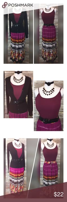 """DEAL OF DAY! SWEATER/SKIRT/TANK/BELT/JEWELRY SZ MD DEAL OF THE DAY!! THIS DEAL IS AN AMAZING DEAL AND WILL SELL QUICKLY! CROSS POSTING!! THIS IS SUCH A VERSATILE OUTFIT!!  NEW ZENANA CARDIGAN SWEATER MED *MEASUREMENT ACROSS* LENGTH-24"""" BUST-18""""-23"""" BOTTOM-15""""-22""""  FARRALE MULTI PRINT MAXI SKIRT SMALL LENGTH-41"""" BUST-14""""-20"""" HIPS-29""""  ACCESSORIE (5) ALLIGATOR ELASTIC BELT- 2""""WIDE/38""""-52"""" NEW AMBIENCE TANK ADJ STRAPS LARGE BURGUNDY NECKLACE-21""""ADJ ROSE CHOKER-ROSE 1 3/4""""/16""""ADJ RHINESTONE…"""
