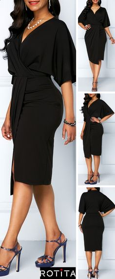 There& no such thing as too much black.Make a statement in this midi-length dress with button details and a playful pop of Batwing Sleeve. Theres no such thing as too much black.Make a stat Look Fashion, Teen Fashion, Womens Fashion, Fashion Trends, Vintage Tea Dress, Fall Outfits, Cute Outfits, Latest Outfits, Faux Wrap Dress