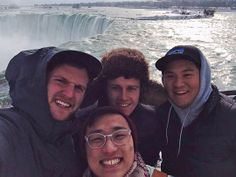 "Jacob Carter '14 sent the picture of himself and friends in front of Niagara Falls in Ontario, Canada. It was a spontaneous 10-hour drive to our northern neighbors. Jacob says of the trip that ""despite getting lost along the way and eating nothing but chips and donuts all weekend, it was a trip that will go down as one of my favorite memories at Wheaton."" Pictured are, from left to right: Jacob Carter '14, Sooho Lee '14, Justin Lovett '14, and Kevin Kim '15."