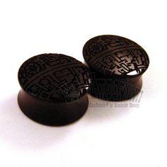 "Deathstar Ebony Wooden Plugs - 1/2"" (13mm) 9/16"" (14mm) 5/8"" (16mm) 3/4"" (19mm) 7/8"" (22mm) 1"" (25.5mm) 1 1/8"" (28mm) wood ear gauges"