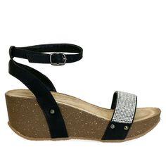 Flow-02 Black Ankle Strap Rhinestone Adjustable Comfort Wedge