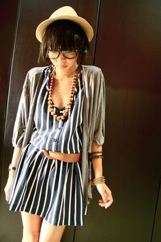 Blue Strip Dress+Gray Cardigan+Brown Wood Necklace Accessory+Fedora =Love it!