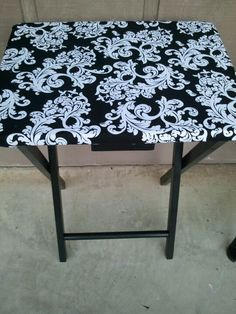 Super easy to make just an tv tray stand covered in fabric and painted cost 2.50!