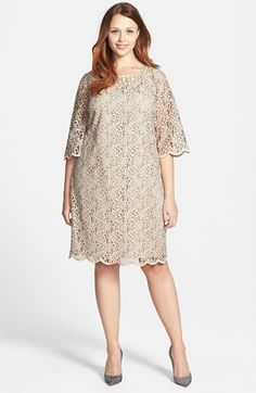 Adrianna Papell Bell Sleeve Beaded Lace Shift Dress (Plus Size) available at #Nordstrom