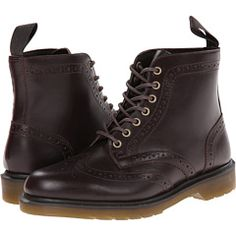 Dr. Martens Affleck Brogue Boot Dark Brown Analine - 6pm.com
