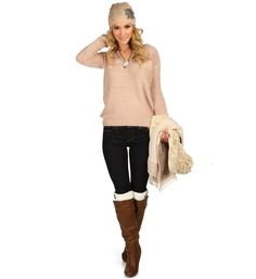 Pink Eyelet Fuzzy Sweater