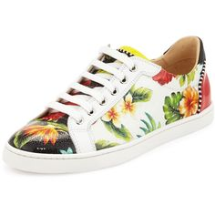 Christian Louboutin Seava Hawaii Low-Top Sneaker ($795) ❤ liked on Polyvore featuring shoes, sneakers, floral, floral sneakers, christian louboutin shoes, leather low top sneakers, red leather shoes and round toe flats