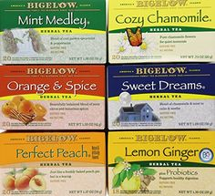Bigelow Mixed Herb Teas Variety 6 Boxes Contains Mint Medley Cozy Chamomile Orange  Spice Sweet Dreams Perfect Peach Lemon Ginger 1 set of 6 boxes 6 boxes ** Find out more about the great product at the image link.
