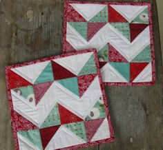 Chevron Quilted Mug Rugs Snack Mats in Red and by MadeInTheCove, $15.00