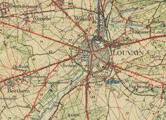 Leuven stafkaart, institut cartographique militaire, 1/40.000, Bruxelles feuille X, 1910