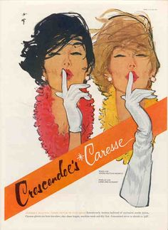 1961 ad for Crescendoe's Caresse gloves. Illustration by René Gruau Jacques Fath, Marie Claire, Vintage Advertisements, Vintage Ads, Vintage Posters, Vintage Style, Pierre Balmain, Fashion Art, Vintage Fashion