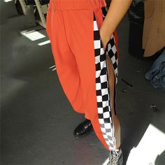 New Checkerboard Patchwork Harem Pants Women High Waist Casual Trousers Estilo Grunge, Checkerboard Pattern, Older Women Fashion, Running Shoes For Men, Casual Pants, Pants For Women, Trousers, Harem Pants, Tumblr Outfits