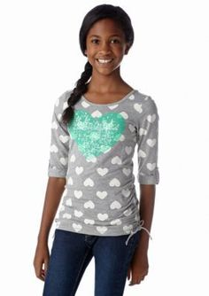 One Step Up  Heart Sequin Top Girls 7-16
