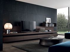 Sectional lacquered TV wall system SINTESI by Poliform design Carlo Colombo