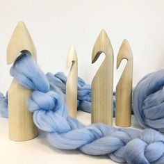 Wool Coutures GIANT Crochet Hooks: Introducing our super-sized, super chunky, super fun crochet hook range! Dimensions: 25mm Diameter, 225mm Length. 30mm Diameter, 225mm Length. 40mm Diameter, 225mm Length. 50mm Diameter, 230mm Length. 60mm Diameter, 230mm Length. (This may be the