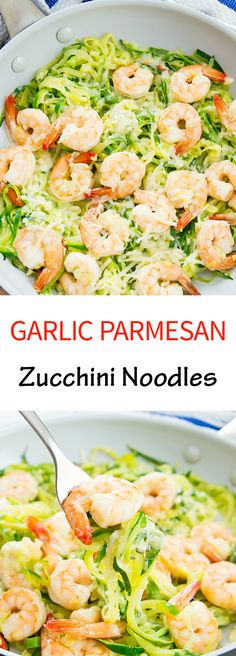 Garlic Parmesan Zucchini Noodles. Melted cheese, butter and garlic with every bite!