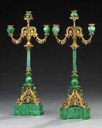 A pair of ormolu and malachite four light candelabra, possibly Russian, third quarter 19th century