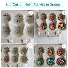 Busy Bag egg carton math activity in spanish