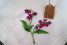 Hand Embroidered Purple flower linen by CharmingPocket on Etsy