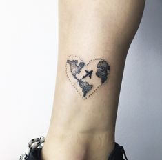 Tattoo world map plane heart