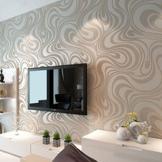 Modern Luxury Abstract Curves Glitter Non-woven Textured Wallpaper For Bedroom Living Room TV Backdrop Wall Murals Cream White One Roll 3d Wallpaper Roll, Modern Wallpaper, White Wallpaper, Wall Wallpaper, Damask Wallpaper, Bedroom Wallpaper, Living Room Wallpaper Gold, Textured Wallpaper, Designer Wallpaper