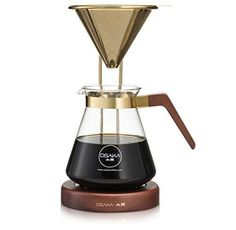 Osaka, Pour Over Coffee Brewer – Large Capacity, Pour over Coffee Maker With Titanium Coated Gold Filter And Wood Stand