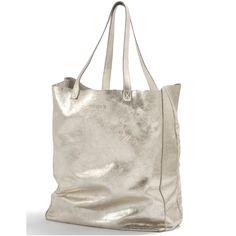 Gold Leather shopper bag