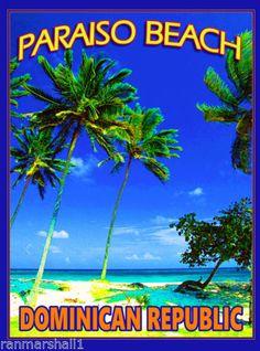 Paraiso-Beach-Dominican-Republic-Caribbean-Island-Travel-Poster-Advertisement