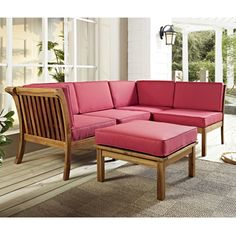 Acacia Wood 5-piece Patio Sectional with Cushions