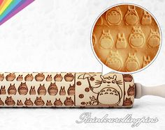 Totoro pattern engraved rolling pinembossed by RainbowRollingPins