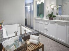 Custom master bathroom with white vanities and square tub - il Regalo - 6873 il Regalo Circle, Naples, FL 34109