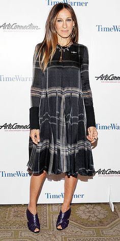 SARAH JESSICA PARKER SJP goes mad for plaid in a Vera Wang swing dress and peep-toe ankle boots from her own shoe line at the ArtsConnection Anniversary Spring Benefit in N.Y.C.