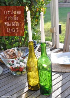 Glass Etched Upcycled Wine Bottle Candles by Club Chica Circle