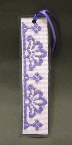 Cross Stitch Pattern Purple Motif Bookmark by by ogusstudio