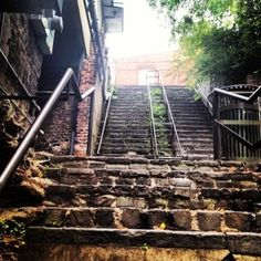 Historic staircase leading from Bay Street to River Street in Savannah, GA