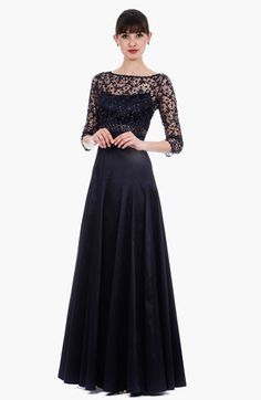 Lace  Metallic Taffeta Gown