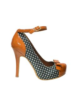 Polka Dot Heels with Bow & Ankle Strap.