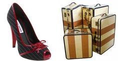 vintage wedding pinstripe shoe suitcase