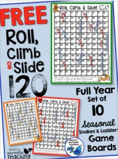 FREE set of 10 seasonal board games for each holiday - snakes and ladders style