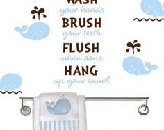 Bathroom decal - Wash brush floss hang