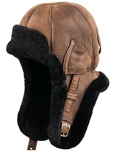Sterkowski Genuine Shearling Leather Trapper Cap US 7 - 7 Chocolate Brown Leather Hats, Leather Men, Style Russe, Cold Weather Gear, Aviator Hat, Biker Gear, Tactical Clothing, Motorcycle Outfit, Leather Projects