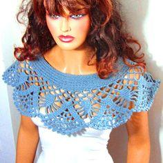 Crochet encaje azul nupcial Bolero bufandas, novia encubrir, encogimiento de hombros chal Capele novia dama de honor de encaje Bolero, abrigo capa hombro