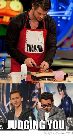 "Tom's face says ""Thor, you're going to cut your finger off.... """